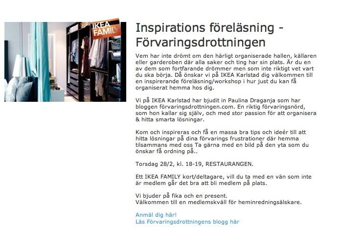 Föreläsning om förvaring på IKEA Karlstad