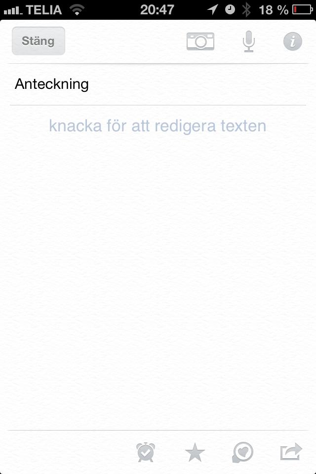 Evernote - skapa anteckning