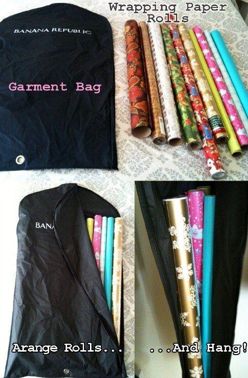 förvaring av presentpapper i klädpåsar
