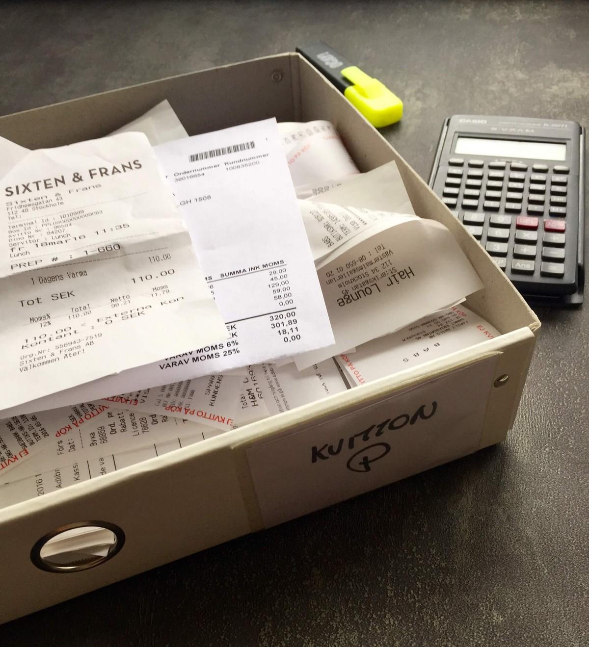 Låda för kvitton