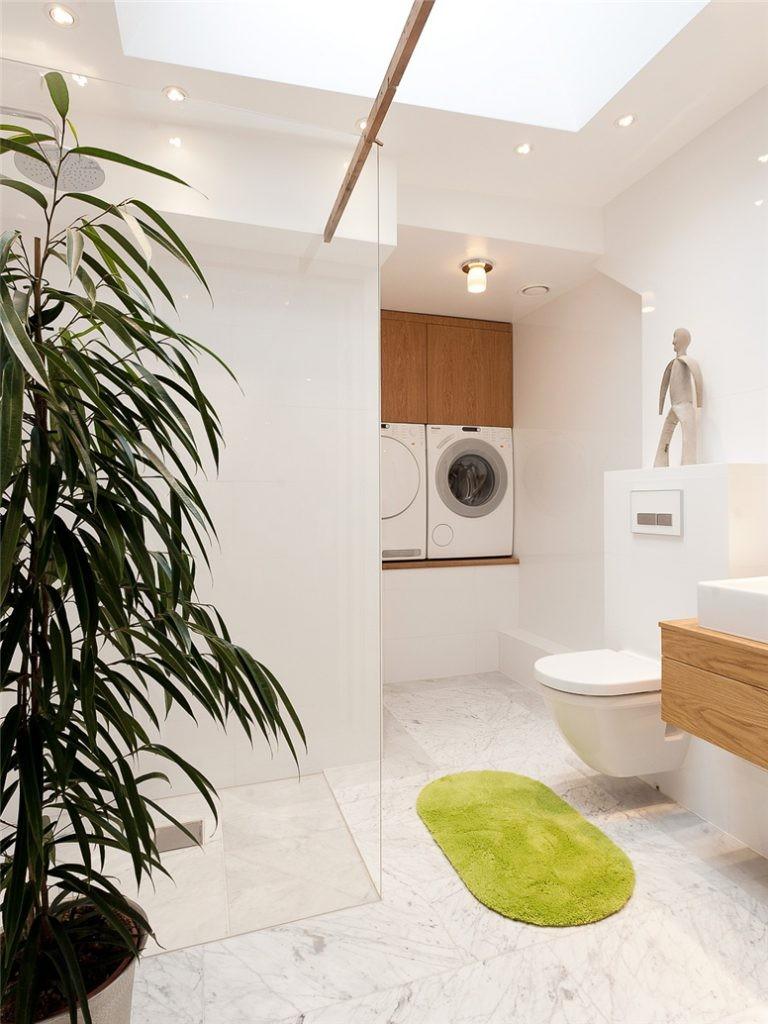 Tvättstuga - inspiration - inbyggt tvättmaskin och torktumlare