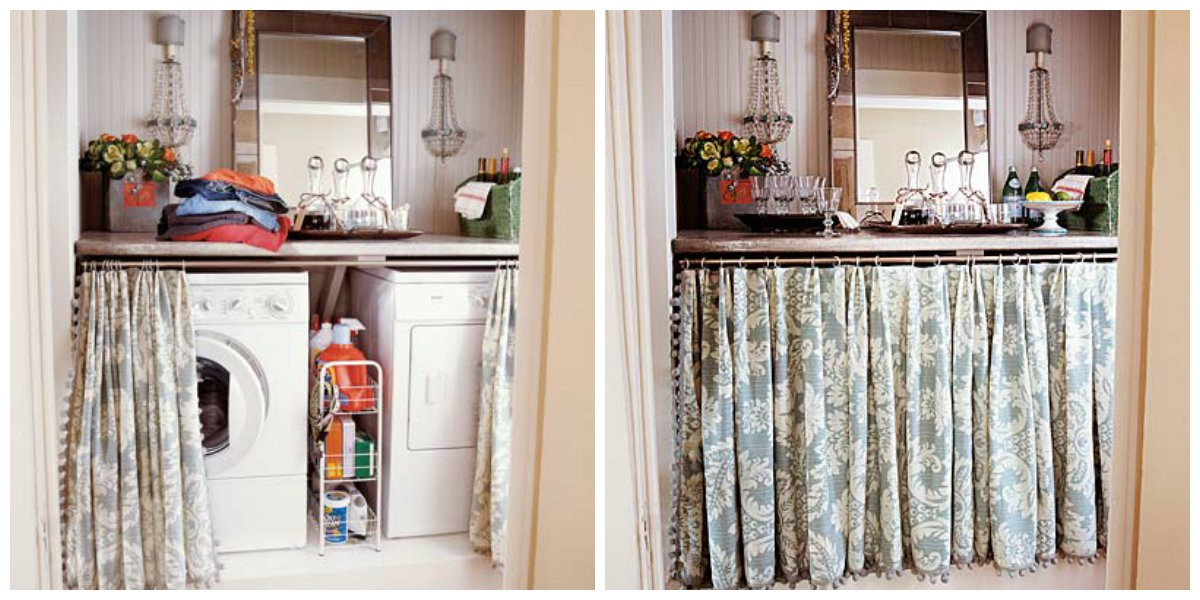 Tvättstuga och sminkbord i ett