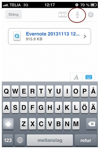 Spela in i Evernote