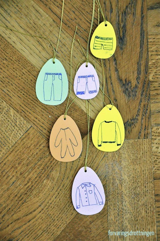 etiketter till kläder till barnrummet