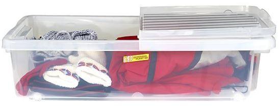 förvaring under sängen - låda på hjul viklock Clas Ohlson