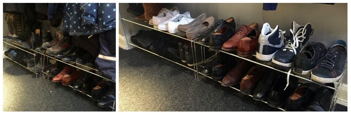 skor i hallen före och efter