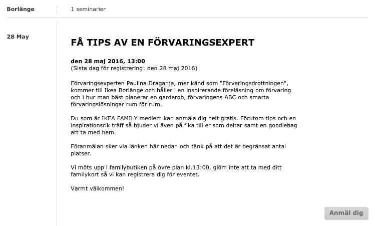 Förvaringsdrottningen Inspirationsföreläsning IKEA Borlänge