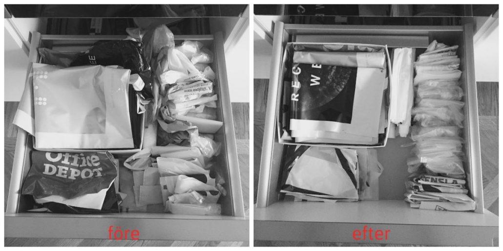 ordning bland plastpåsar