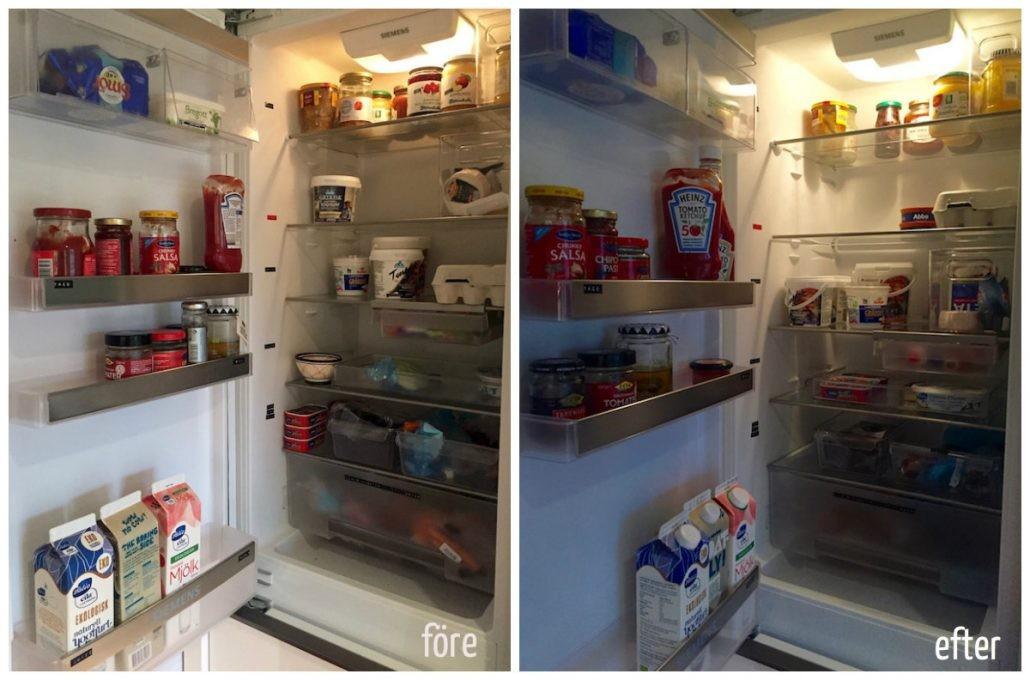 kylskåpet före- och efter